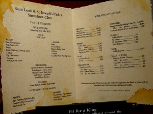 Actual menu off the steam boat