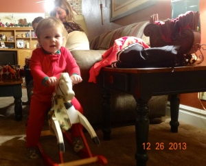 It took 5 days for Bronson to get on the horse himself.  He threw fits when his dad tried.
